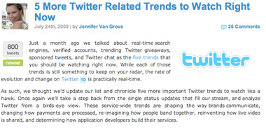 Screenshot of Mashable Twitter Article