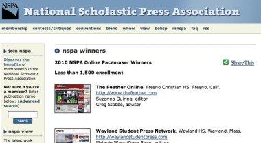 NSPA Pacemaker Winners 2010