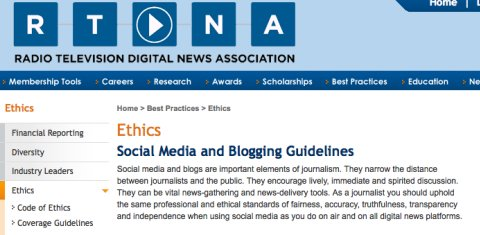 RTDNA releases social media and blogging guidelines for journalists