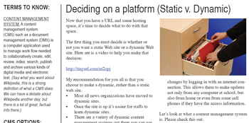 This is a screenshot of the Static V. Dynamic Handout