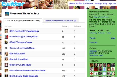 Riverfront Times Twitter Lists Screenshot