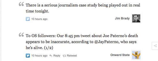 Storify used to tell the story of Joe Paterno death claims and retractions
