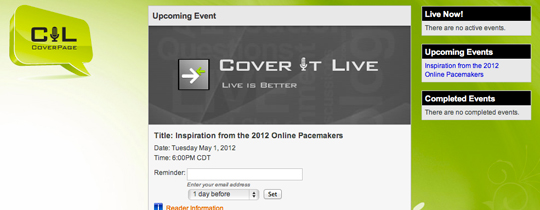 "NSPA to host CoverItLive chat May 1: ""Inspiration from the Online Pacemakers"""