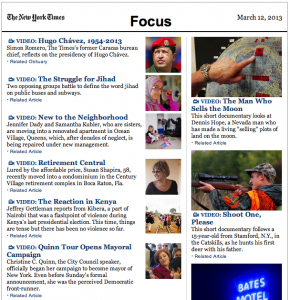 "The ""Focus"" e-mail newsletter from The New York Times brings great multimedia inspiration to you weekly."