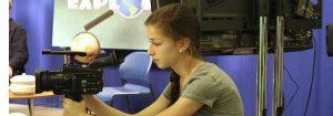 Sophomore Marissa Glantz films during the Explore! program at Ladue Horton Watkins High School in St. Louis, MO.
