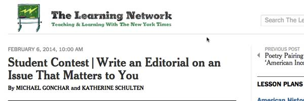 The New York Times Learning Network offers a real-life editorial opportunity