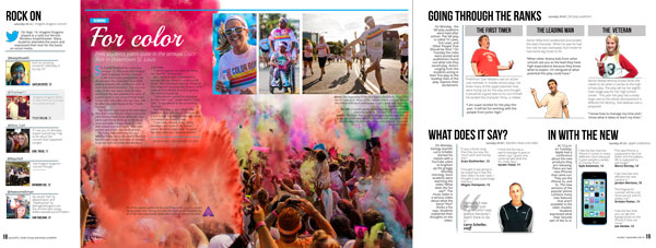 A weekly coverage spread from the 2013-14 Excalibur yearbook from Francis Howell North that is using Aurasma.