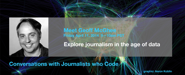 "Join a pro online April 11 to talk data as part of the ""Conversations with Journalists who Code"" series"