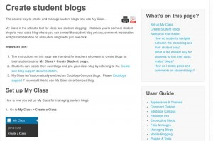 Create Student blogs