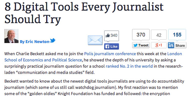 On PBS MediaShift, Newton and Wirz share 8 digital tools journalists should try