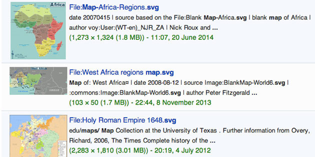 Use Wikipedia Commons to find maps that can be reproduced and used copyright-free