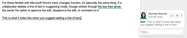 A green underline indicates text that has been added.