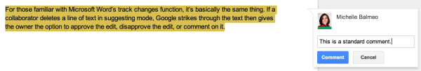The comment function, which isn't new, still allows editors to give more general feedback.