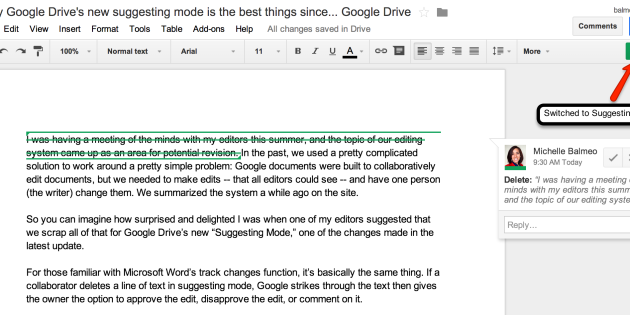 Why Google Drive's new suggesting mode is the best things since… Google Drive