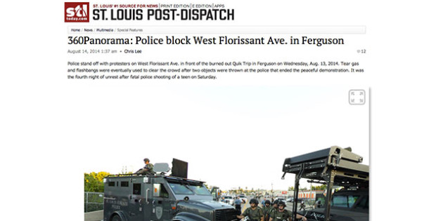 St. Louis Post-Dispatch Photojournalist Chris Lee uses 360 Panorama technique to help document unrest in Ferguson