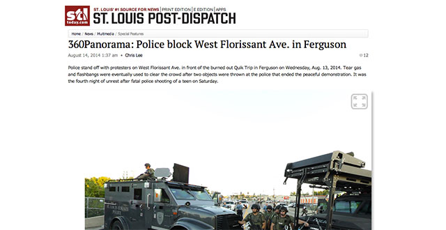 Chris Lee Panorama of unrest in Ferguson, Missouri