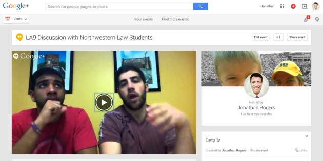 Using Google Hangout on Air with Northwestern Law students and Interviews