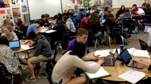 Students in American Studies at Monta Vista High School collaboratively edit a document through Google Drive.