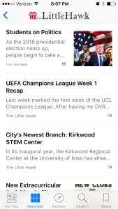 The Little Hawk's Apple News feed