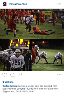 This three-shot post from The Feather Online (Fresno, California) captures football game action.