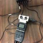 H5 recorder with an H6 adaptor for four microphones and a headphone splitter.