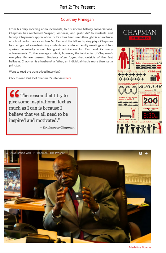 The Eastside Online in Cherry Hill, New Jersey, used photos, videos, graphics and pullquotes to tell this story about their principal.