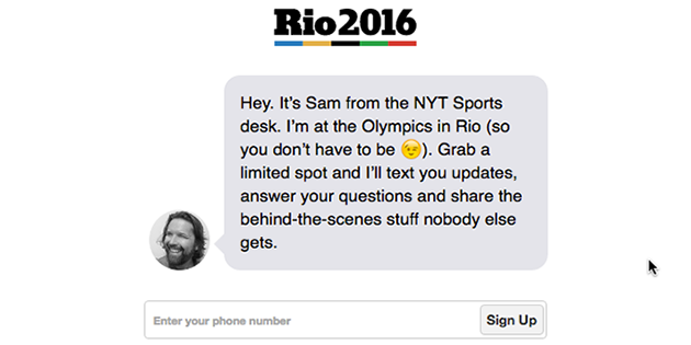 NYTimes Olympic Feed signup
