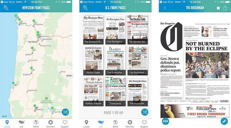 Screenshots of today's front pages on Newseum app