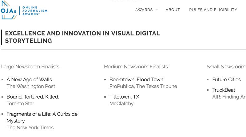 Screenshot ONA finalists