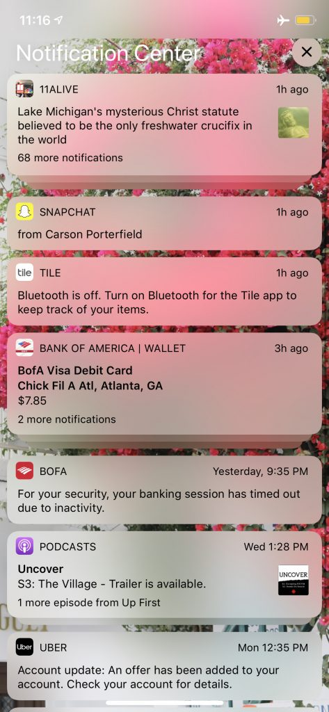 A screenshot of an iPhone screen full of different kinds of push notifications