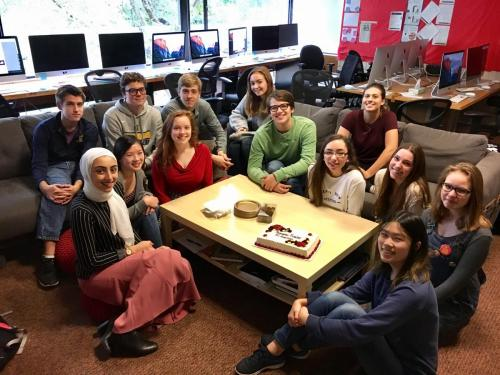 The Rubicon staff celebrates their Pacemaker Finalist announcement and All-American critique earlier this year. All the staffs start every class period around the coffee table -- on couches or flexible seating -- for announcements, section check-ins, and celebrations.